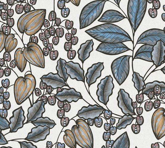 Non-Woven Wallpaper Leaves Fruits white yellow 37754-8