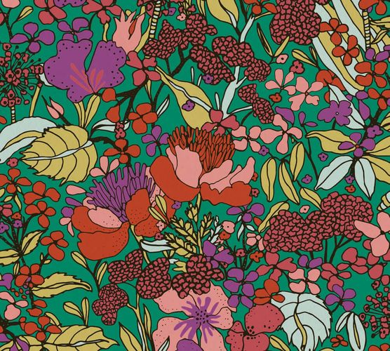 Non-Woven Wallpaper Flowers green colourful 37756-1