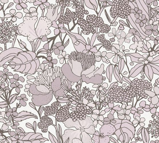 Non-Woven Wallpaper Floral Flowers white brown 37756-5