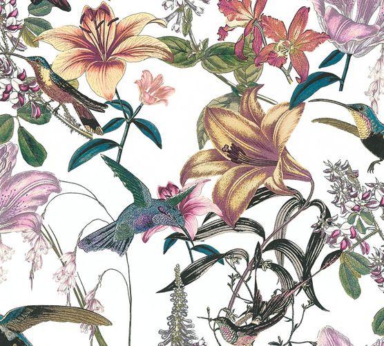 Non-Woven Wallpaper Flowers Bird Floral white 37701-1