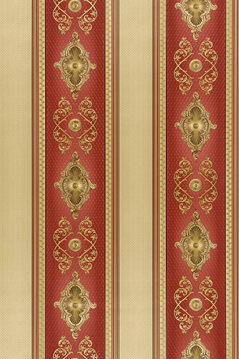 Satintapete barock streifen hermitage glanz rot 6830 14 for Tapete rot gestreift