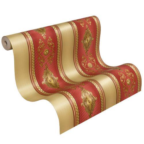 Satintapete Barock Streifen Hermitage Glanz rot 6830-14