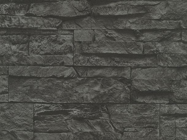 Wallpaper natural stone bricks black AS Creation 7071-23