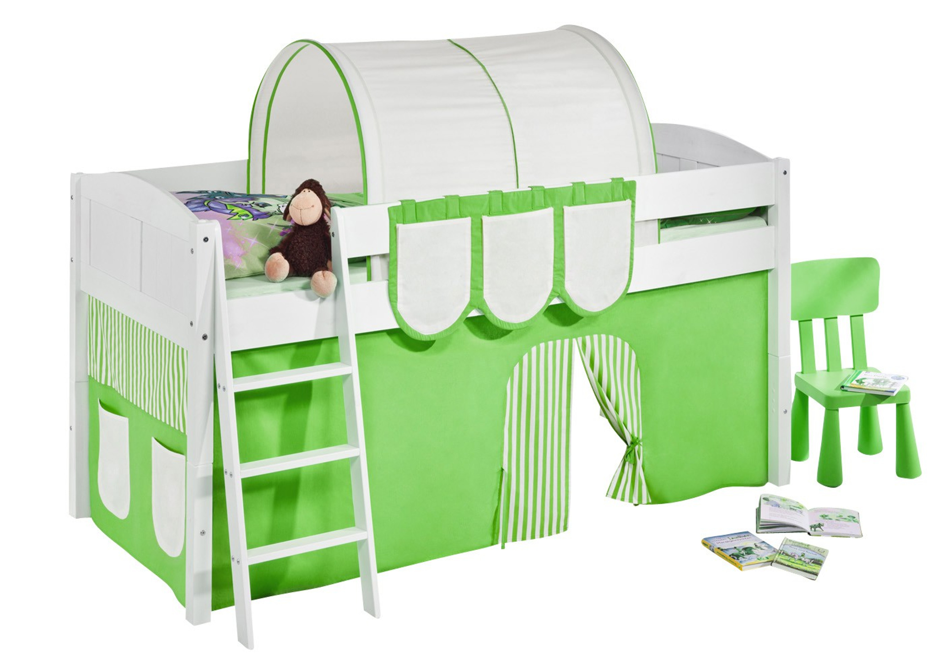 spielbett gr n beige wei mit vorhang 4106 m bel baby kinderzimmer hochbetten. Black Bedroom Furniture Sets. Home Design Ideas
