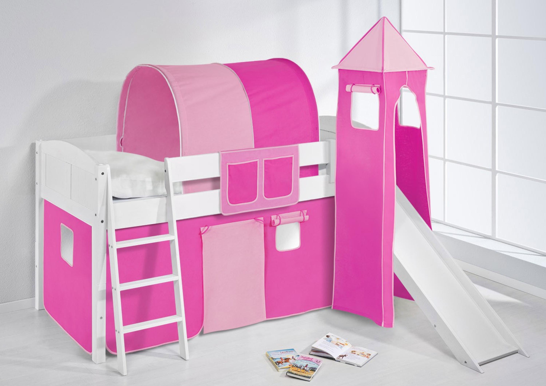 spielbett rosa wei mit turm rutsche und vorhang 4106 m bel baby kinderzimmer hochbetten. Black Bedroom Furniture Sets. Home Design Ideas