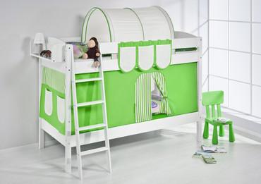 Etagenbett Grün Beige - weiß - mit Vorhang und Lattenroste (4105) – Bild 2