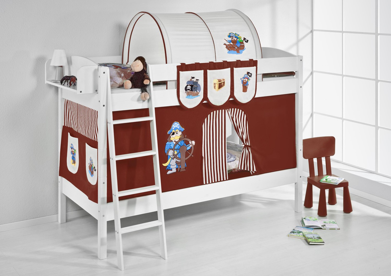 etagenbett pirat braun beige wei mit vorhang und lattenroste 4105 m bel baby. Black Bedroom Furniture Sets. Home Design Ideas