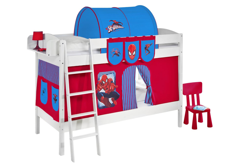 Etagenbett Kind Und Baby : Etagenbett spiderman weiß mit vorhang und lattenroste 4105