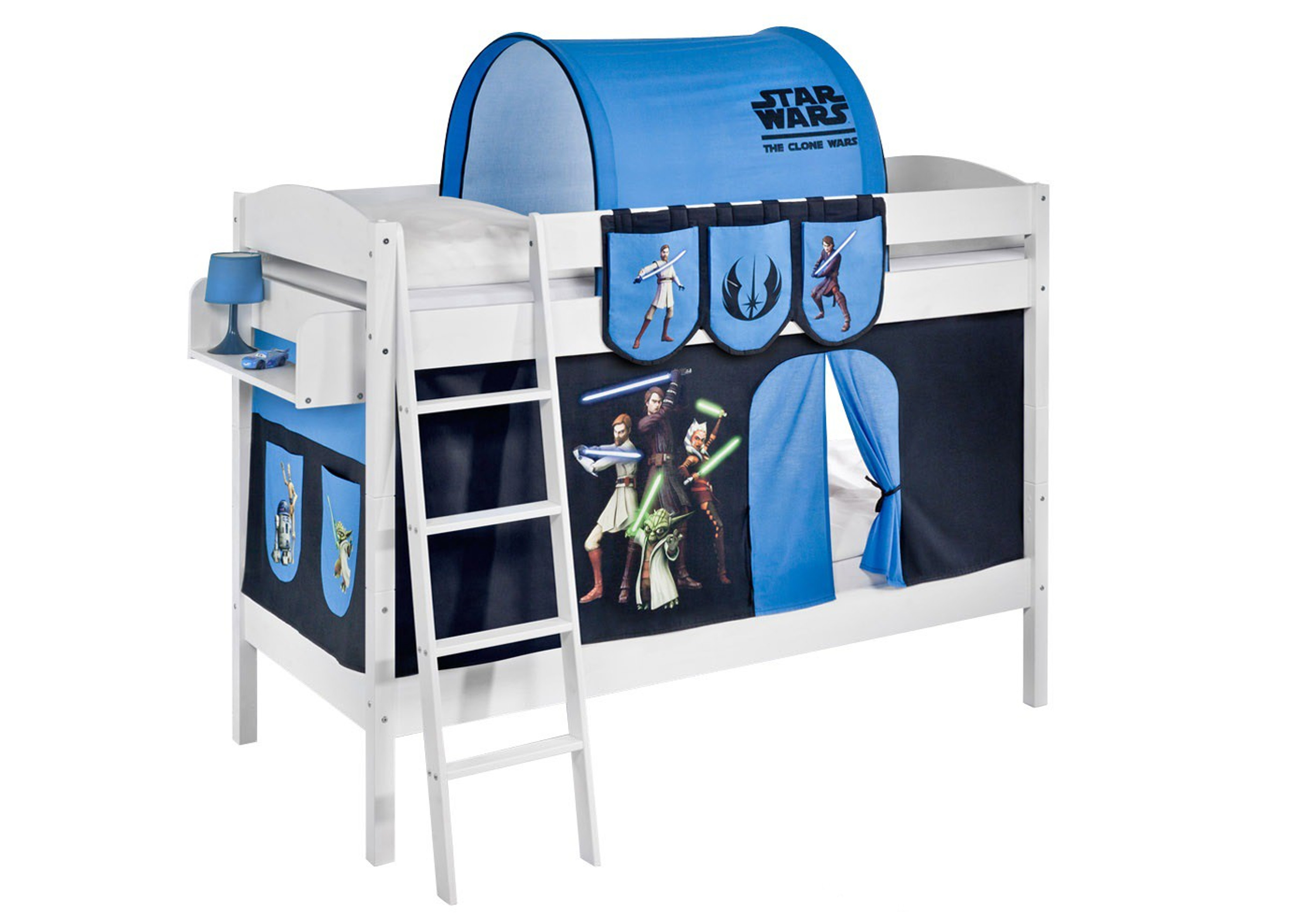 etagenbett star wars the clone wars wei mit vorhang und lattenroste 4105 m bel baby. Black Bedroom Furniture Sets. Home Design Ideas
