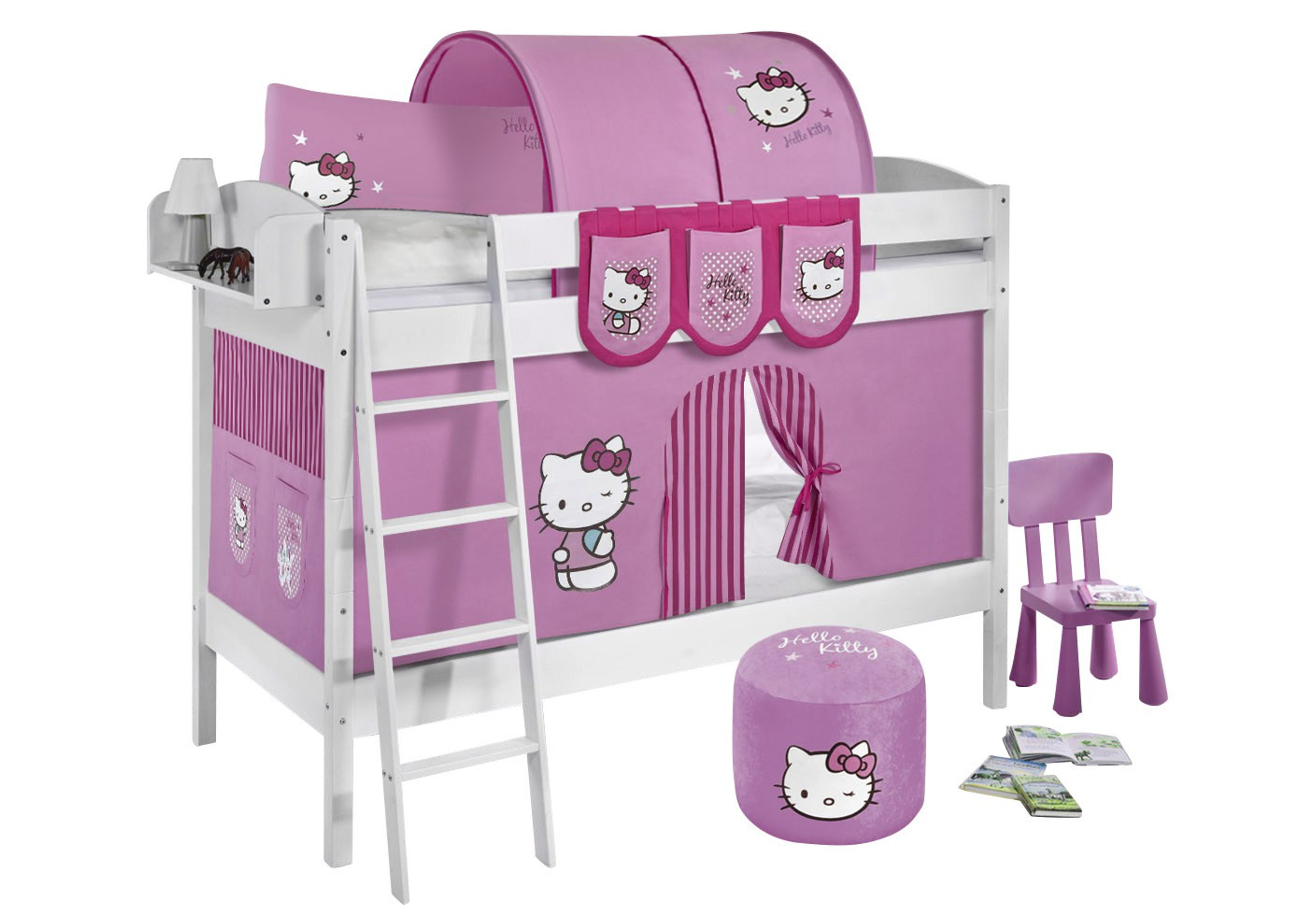 etagenbett hello kitty rosa wei mit vorhang und. Black Bedroom Furniture Sets. Home Design Ideas