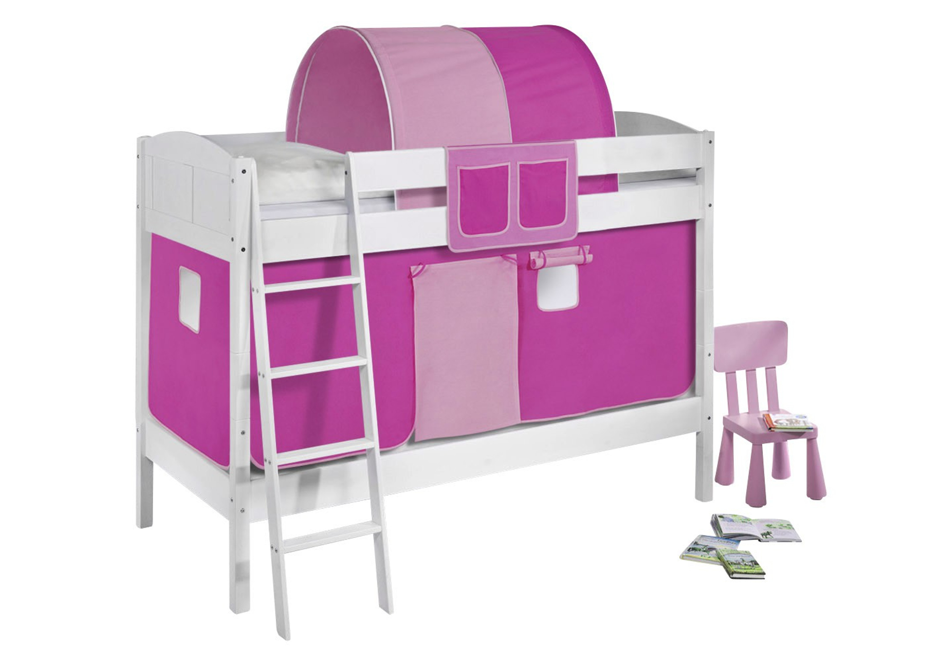 etagenbett rosa wei mit vorhang und lattenroste 4106 m bel baby kinderzimmer etagenbetten. Black Bedroom Furniture Sets. Home Design Ideas
