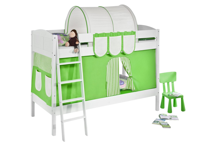 Etagenbett Grün : Etagenbett grün beige weiß mit vorhang und lattenroste