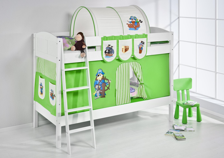 Etagenbett Zubehör Vorhänge : Etagenbett pirat grün beige weiß mit vorhang und lattenroste