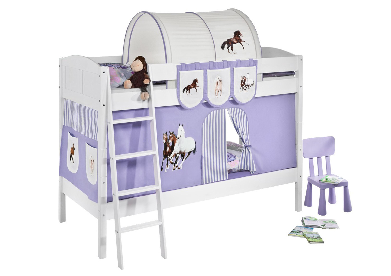 Etagenbett Baby : Etagenbett pferde lila beige weiß mit vorhang und lattenroste