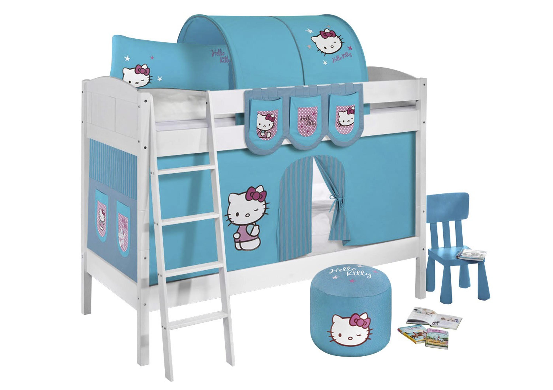 Vorhang Für Etagenbett : Etagenbett hello kitty türkis weiß mit vorhang und lattenroste