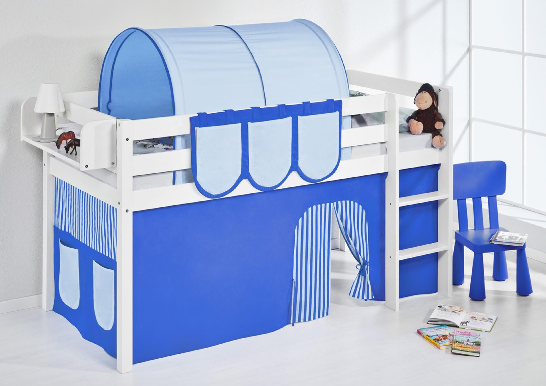 spielbett blau wei mit vorhang jelle m bel baby kinderzimmer hochbetten. Black Bedroom Furniture Sets. Home Design Ideas