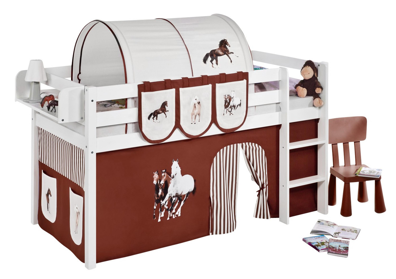 Spielbett Pferde Braun Beige   Weiß   Mit Vorhang (JELLE)