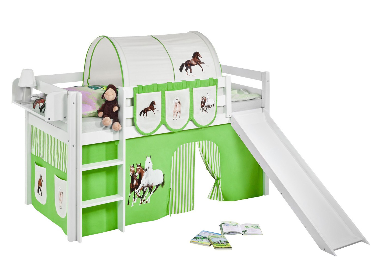 spielbett pferde gr n beige wei mit rutsche und vorhang jelle m bel baby kinderzimmer. Black Bedroom Furniture Sets. Home Design Ideas