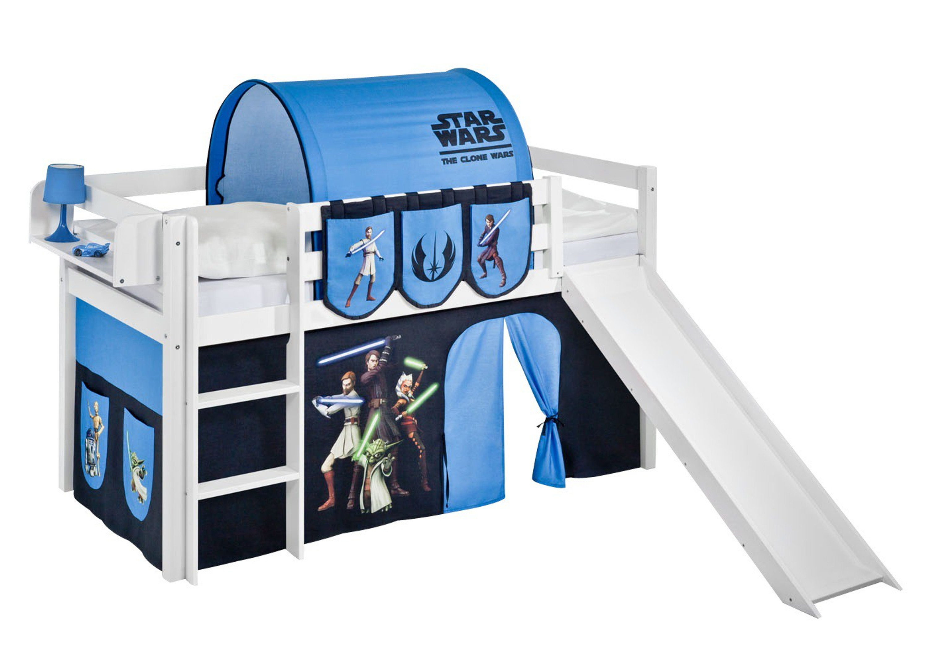 spielbett star wars the clone wars wei mit rutsche und vorhang jelle m bel baby. Black Bedroom Furniture Sets. Home Design Ideas
