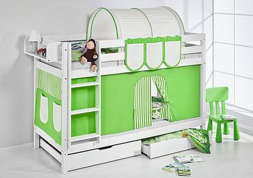 Etagenbett Grün Beige - weiß - mit Vorhang und Lattenroste (JELLE) – Bild 2