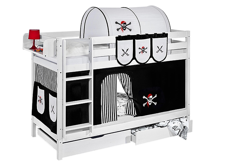 Etagenbett Kind Und Baby : Etagenbett pirat schwarz weiß mit vorhang und lattenroste