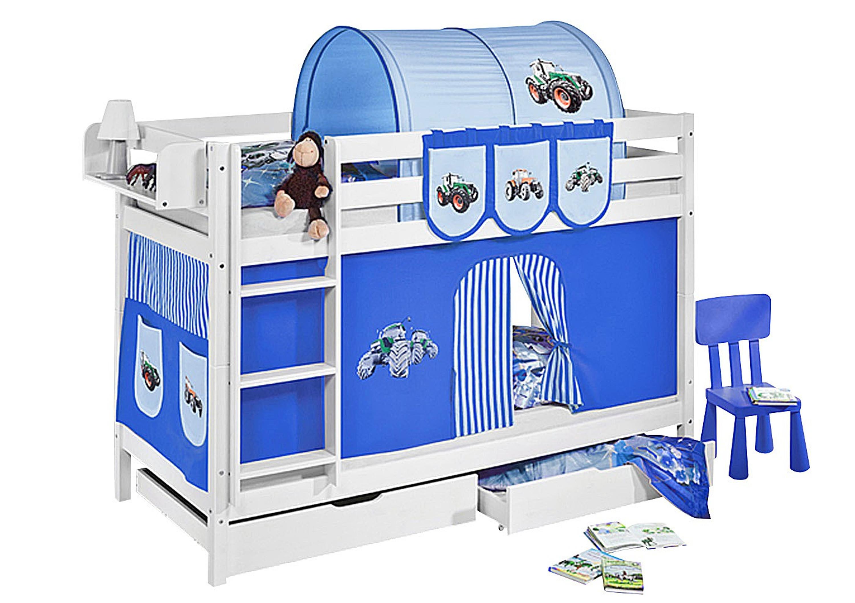 etagenbett trecker blau wei mit vorhang und lattenroste jelle m bel baby kinderzimmer. Black Bedroom Furniture Sets. Home Design Ideas