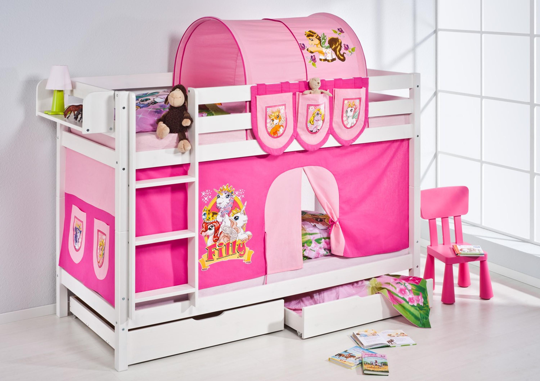 Vorhang Etagenbett Kinder : Etagenbett filly weiß mit vorhang und lattenroste jelle