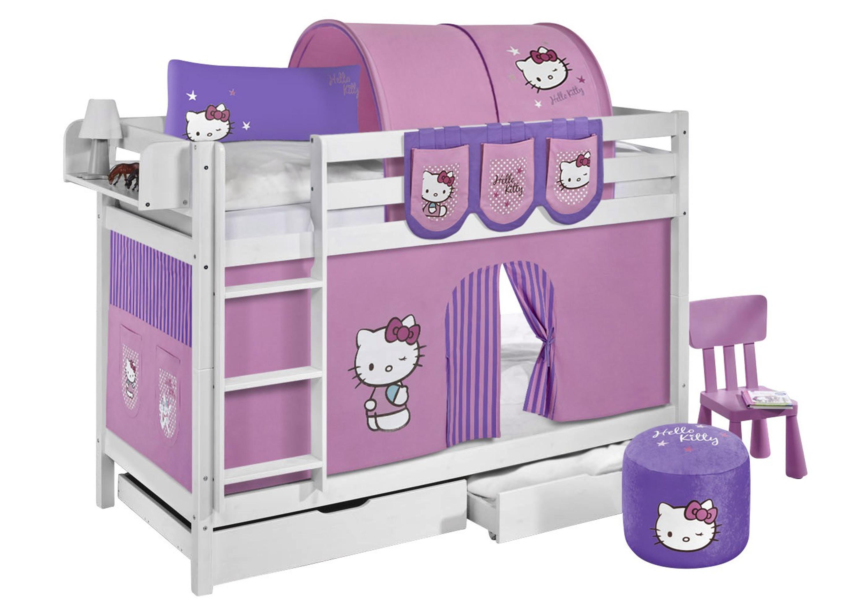 Etagenbett Lattenrost : Etagenbett hello kitty lila weiß mit vorhang und lattenroste
