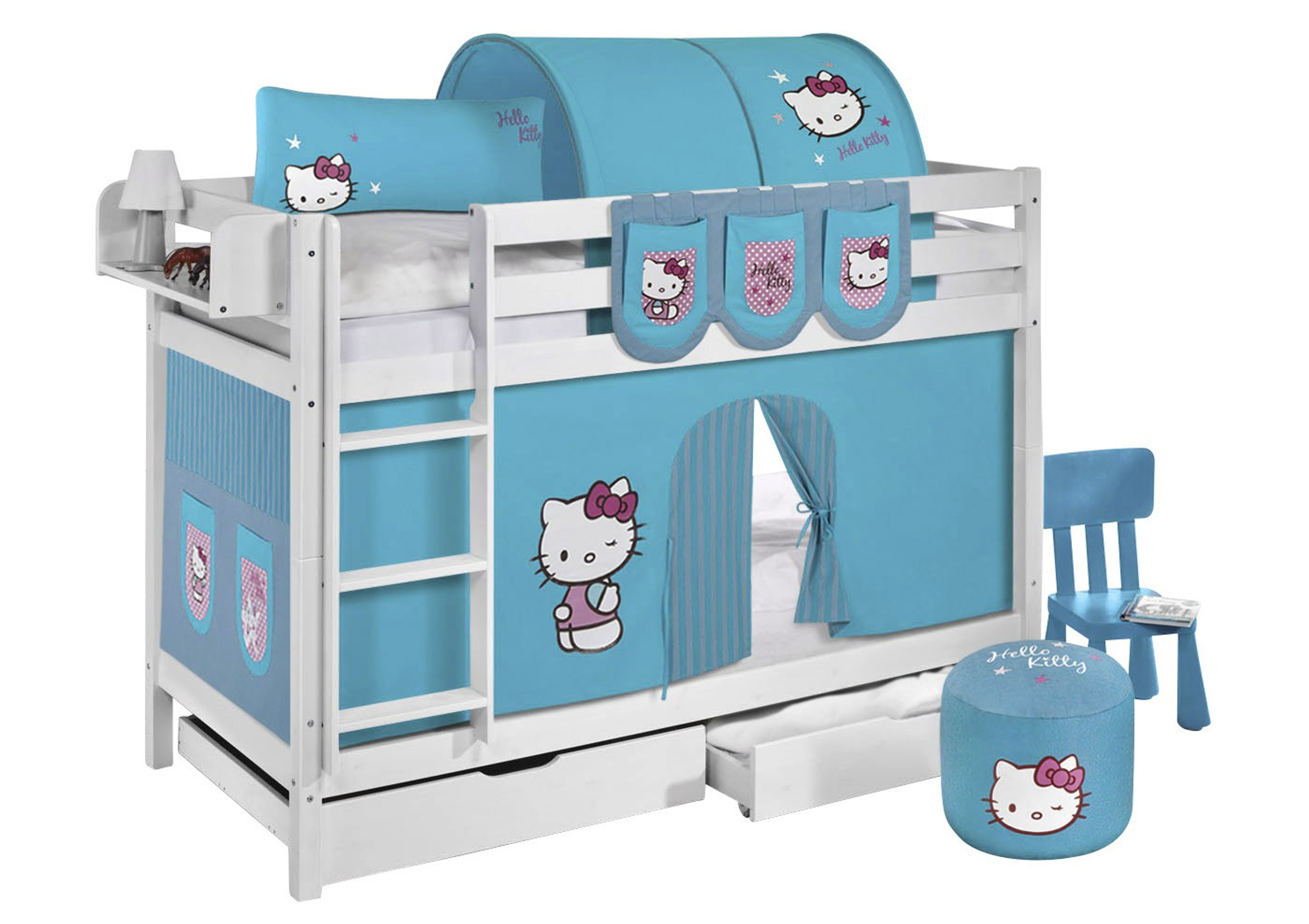 etagenbett hello kitty t rkis wei mit vorhang und lattenroste jelle m bel baby. Black Bedroom Furniture Sets. Home Design Ideas