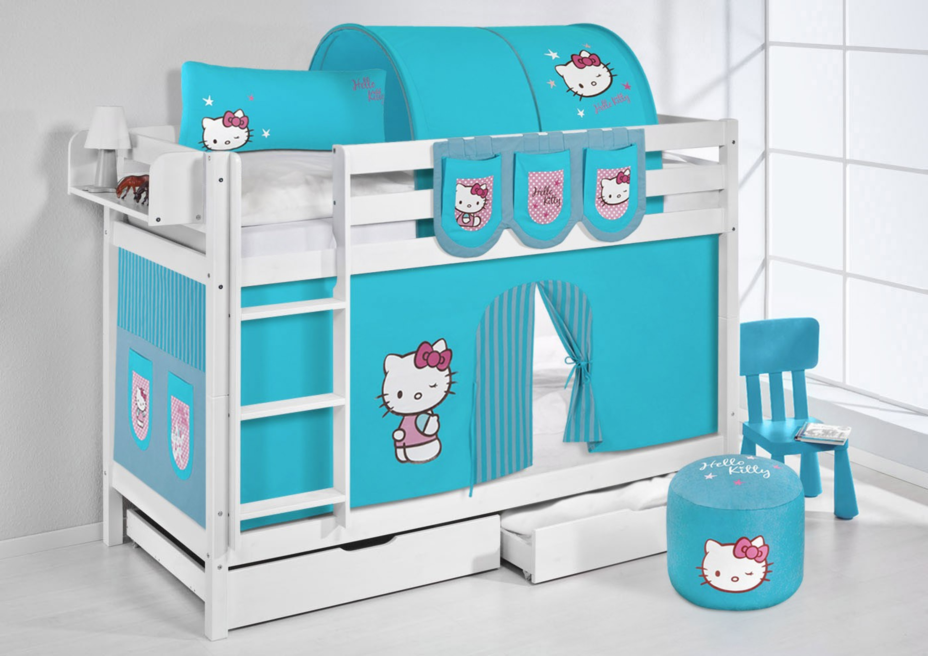 etagenbett hello kitty t rkis wei mit vorhang und. Black Bedroom Furniture Sets. Home Design Ideas