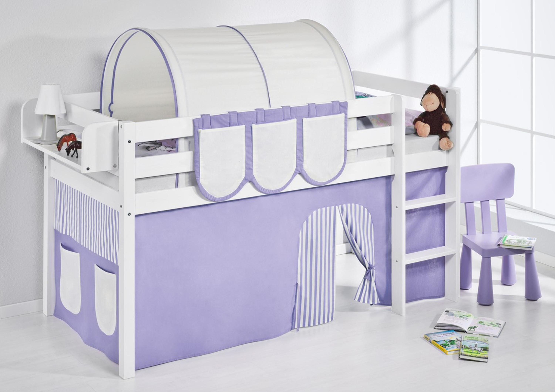 spielbett 90 x 190 cm lila beige hochbett lilokids wei mit vorhang jelle m bel baby. Black Bedroom Furniture Sets. Home Design Ideas