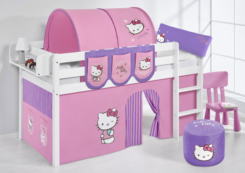 spielbett 90 x 190 cm hello kitty lila wei mit vorhang jelle m bel baby kinderzimmer. Black Bedroom Furniture Sets. Home Design Ideas