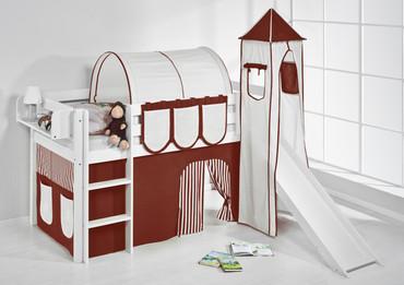Spielbett 90 x 190 cm Braun Beige - weiß - mit Turm, Rutsche und Vorhang (JELLE) – Bild 2
