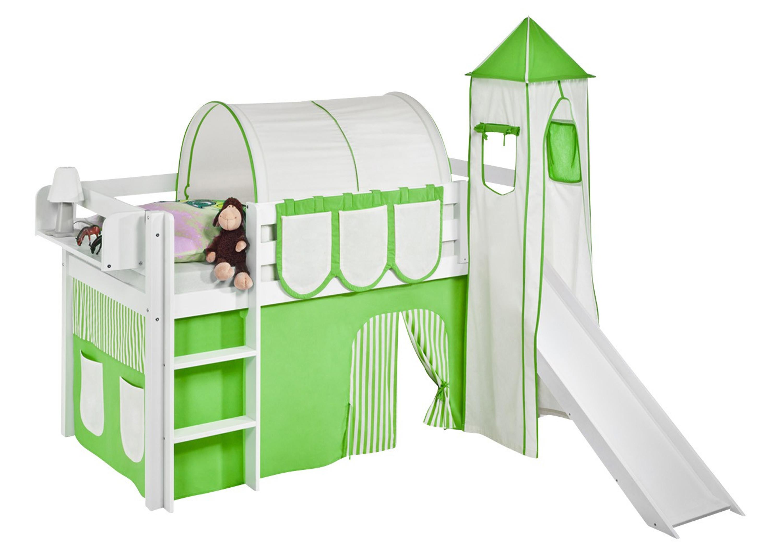 Etagenbett Weiß Mit Rutsche : Spielbett 90 x 190 cm grün beige hochbett lilokids weiß mit
