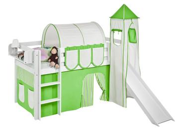 Spielbett 90 x 190 cm Grün Beige- Hochbett LILOKIDS - weiß - mit Turm, Rutsche und Vorhang (JELLE) – Bild 1