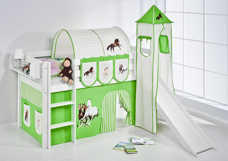 spielbett 90 x 190 cm pferde gr n beige wei mit turm rutsche und vorhang jelle m bel. Black Bedroom Furniture Sets. Home Design Ideas