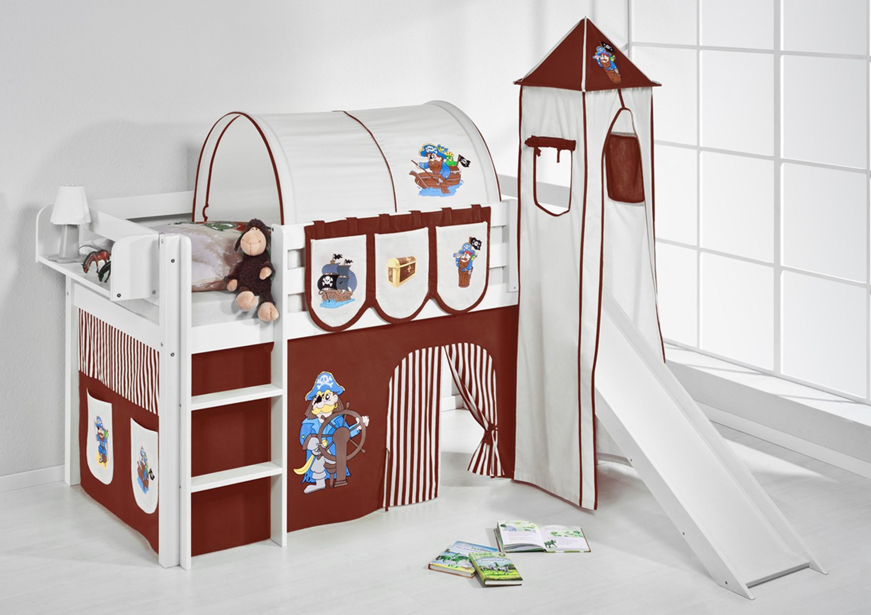 spielbett 90 x 190 cm pirat braun beige wei mit turm rutsche und vorhang jelle m bel. Black Bedroom Furniture Sets. Home Design Ideas