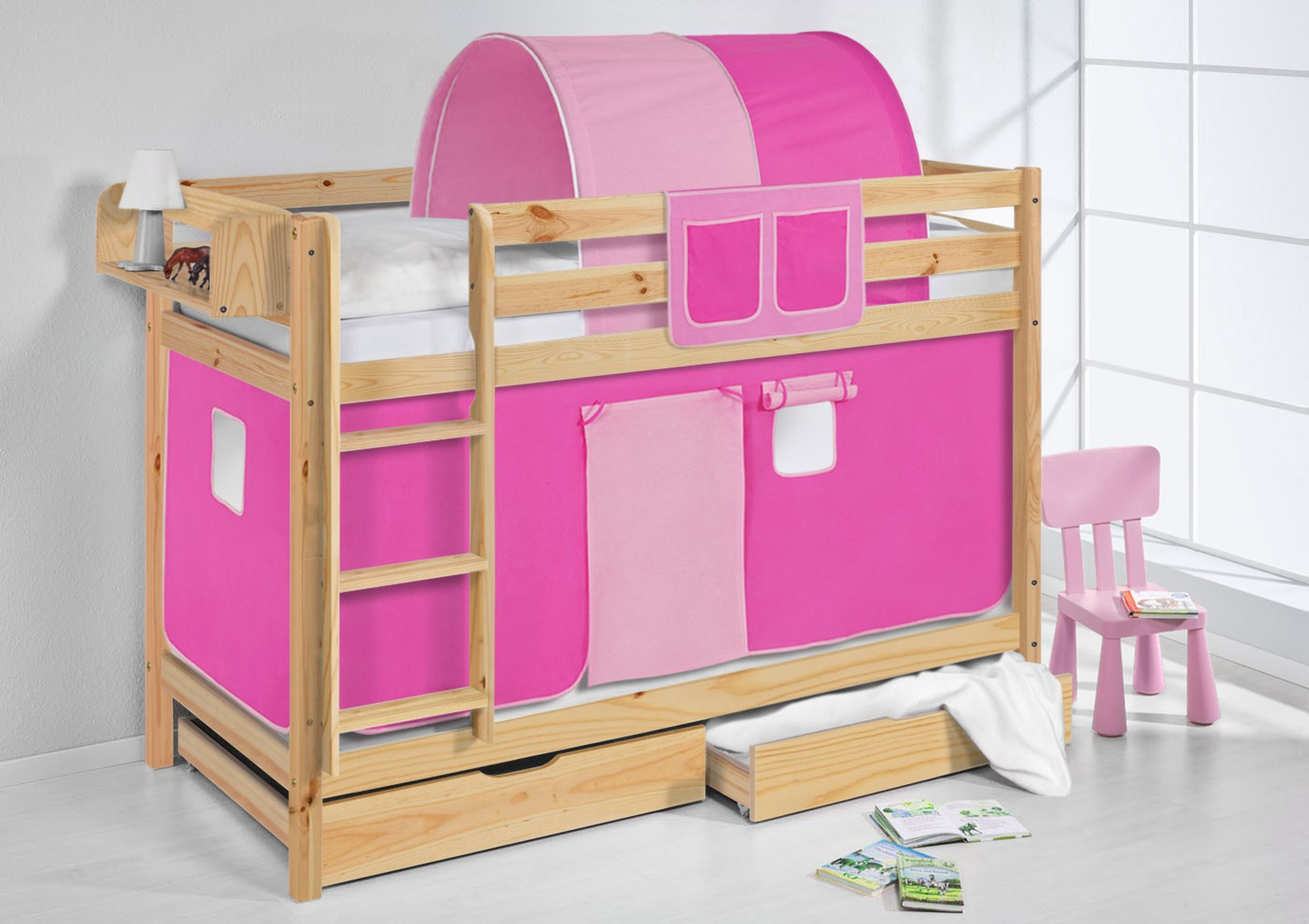 etagenbett rosa natur mit vorhang und lattenroste jelle m bel baby kinderzimmer. Black Bedroom Furniture Sets. Home Design Ideas
