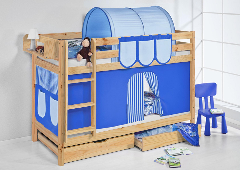 Etagenbett Vorhang Blau : Etagenbett blau natur mit vorhang und lattenroste jelle