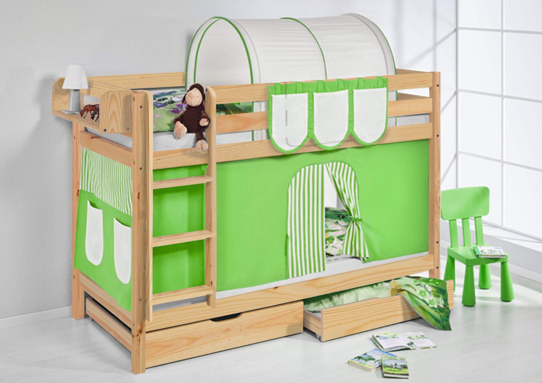 Etagenbett Grün : Etagenbett grün beige natur mit vorhang und lattenroste jelle