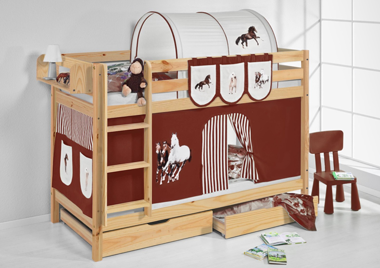 Etagenbett Vorhang : Etagenbett pferde braun beige natur mit vorhang und lattenroste