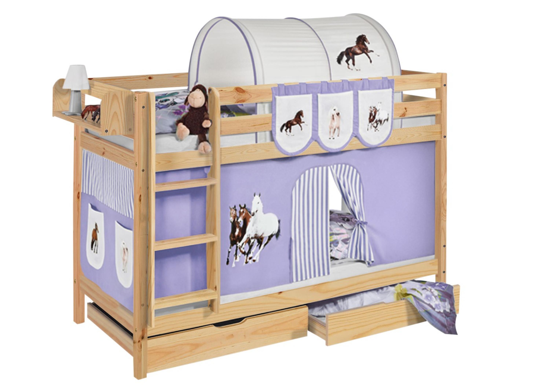 Etagenbett Baby : Etagenbett pferde lila beige natur mit vorhang und lattenroste
