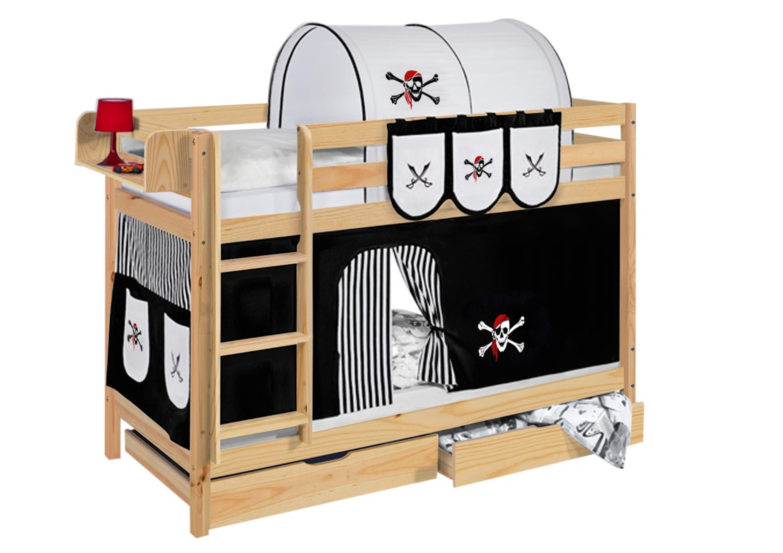 Etagenbett Zubehör Vorhänge : Etagenbett pirat schwarz weiß natur mit vorhang und lattenroste