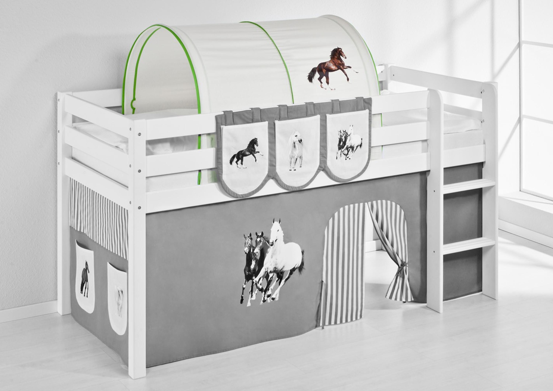 Etagenbett Spielbett : Tunnel pferde grün beige für hochbett spielbett und etagenbett