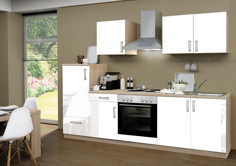 Küche mit elektrogeräten  Küchenzeile Santorin inkl. Elektrogeräte und Kochplatten, 270 cm ...