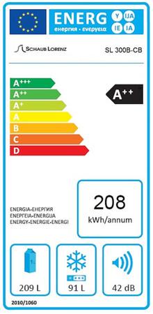 Kühl-Gefrierkombination 190 cm, A++, SL300B SG Hellgrün glänzend – Bild 3