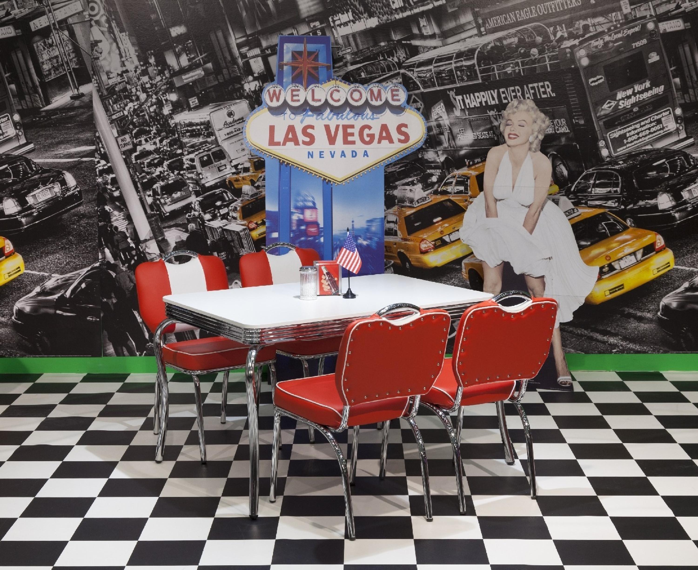 Entzuckend American Diner Tischgruppe Elvis, Tisch Rechteckig Oder Rund, Farbe ROT.