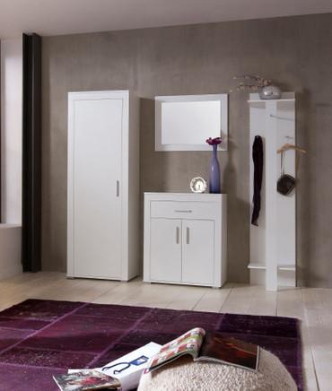Dielen Set Lake III best. aus: Garderobenschrank, Wandspiegel, Schuhschrank und Garderobenpaneel Korpus und Front in Weiß Dekor Melamin – Bild 1