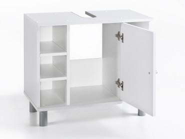 Waschbecken Unterschrank 1-trg. mit 6 Fächern Weiß Melamin Dekor – Bild 2