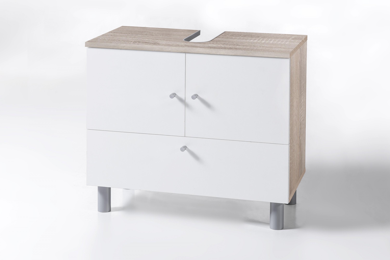 waschbecken unterschrank 2 trg und 1 klappe sonoma eiche wei melamin dekor badezimmer. Black Bedroom Furniture Sets. Home Design Ideas